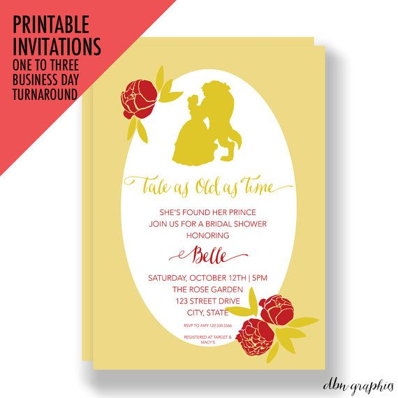 PRINTABLE INVITATIONS Tale as Old as Time Beauty and the Beast