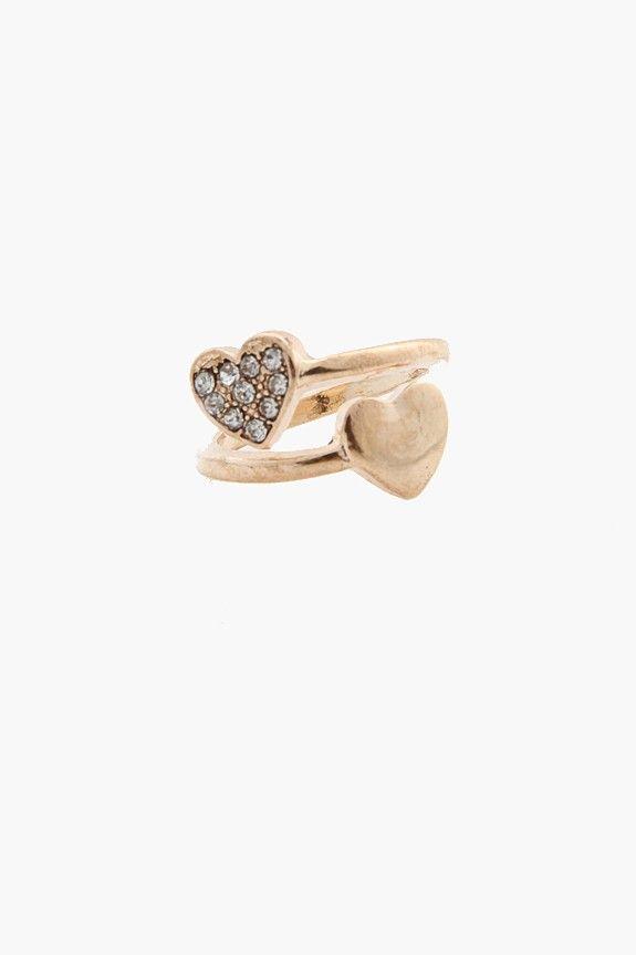 Heart Rhinestone Ring - Gold