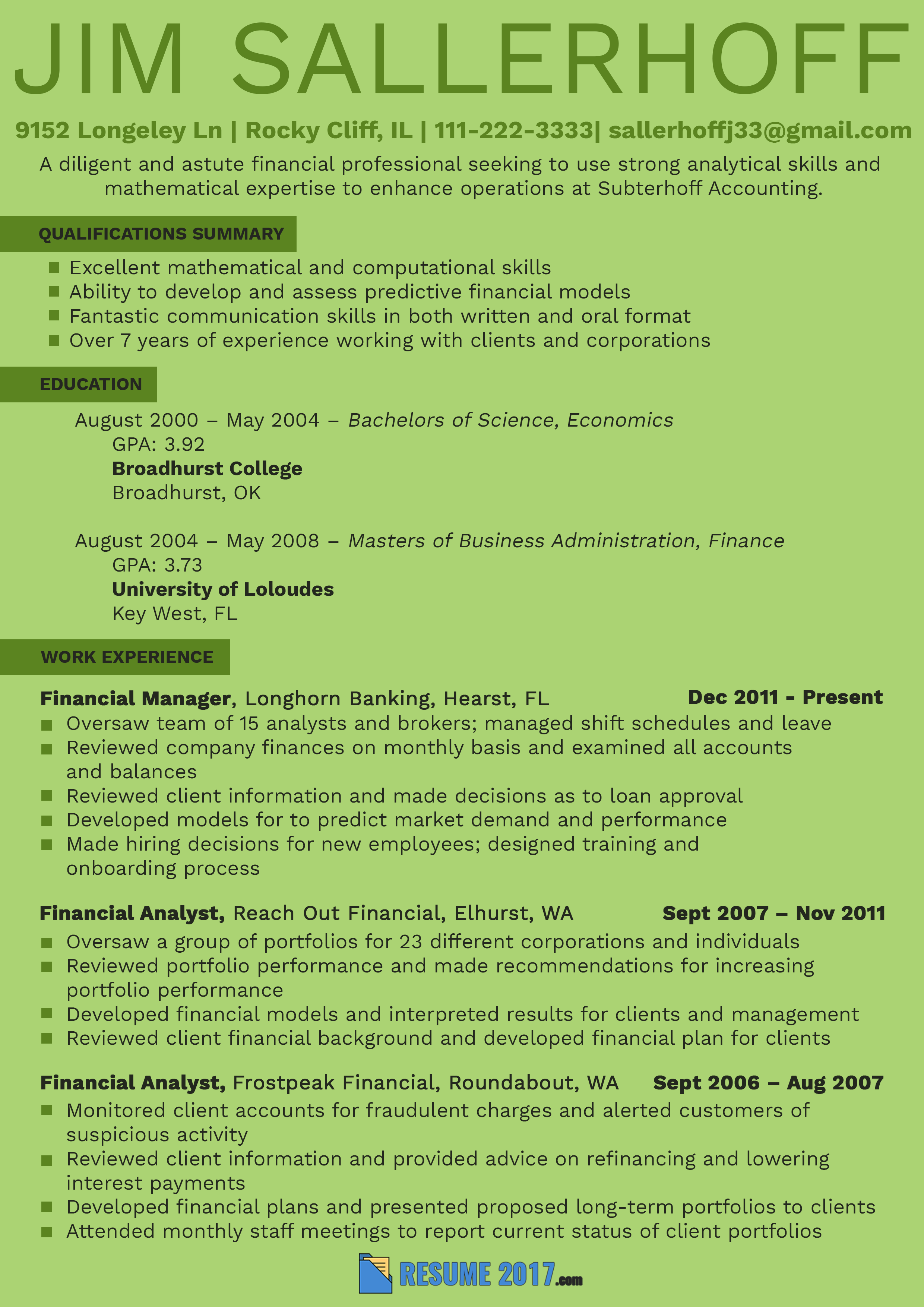 Pin on Financial Analyst Resume templates