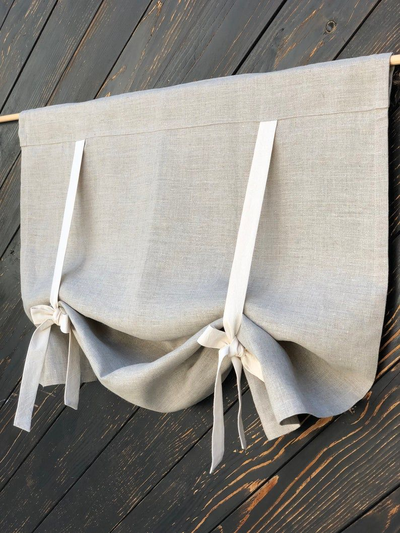 Linen Curtains Country Kitchen Tie Up Valance Rustic Window Treatment French Country Farmhouse Living Room Farmhouse Curtain Blind 36L