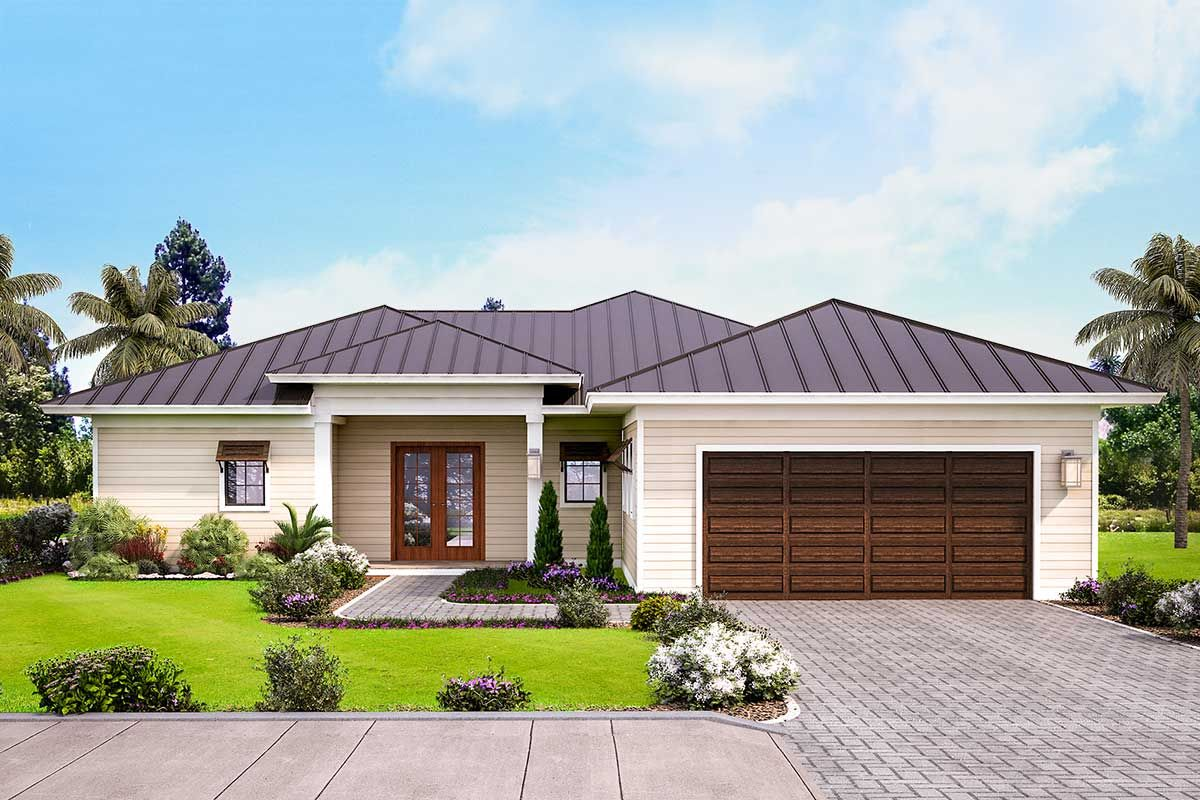 Plan 86071bw Lovely 3 Bed One Story House Plan With Covered Lanai Simple House Plans House Plans One Story House Plan Gallery