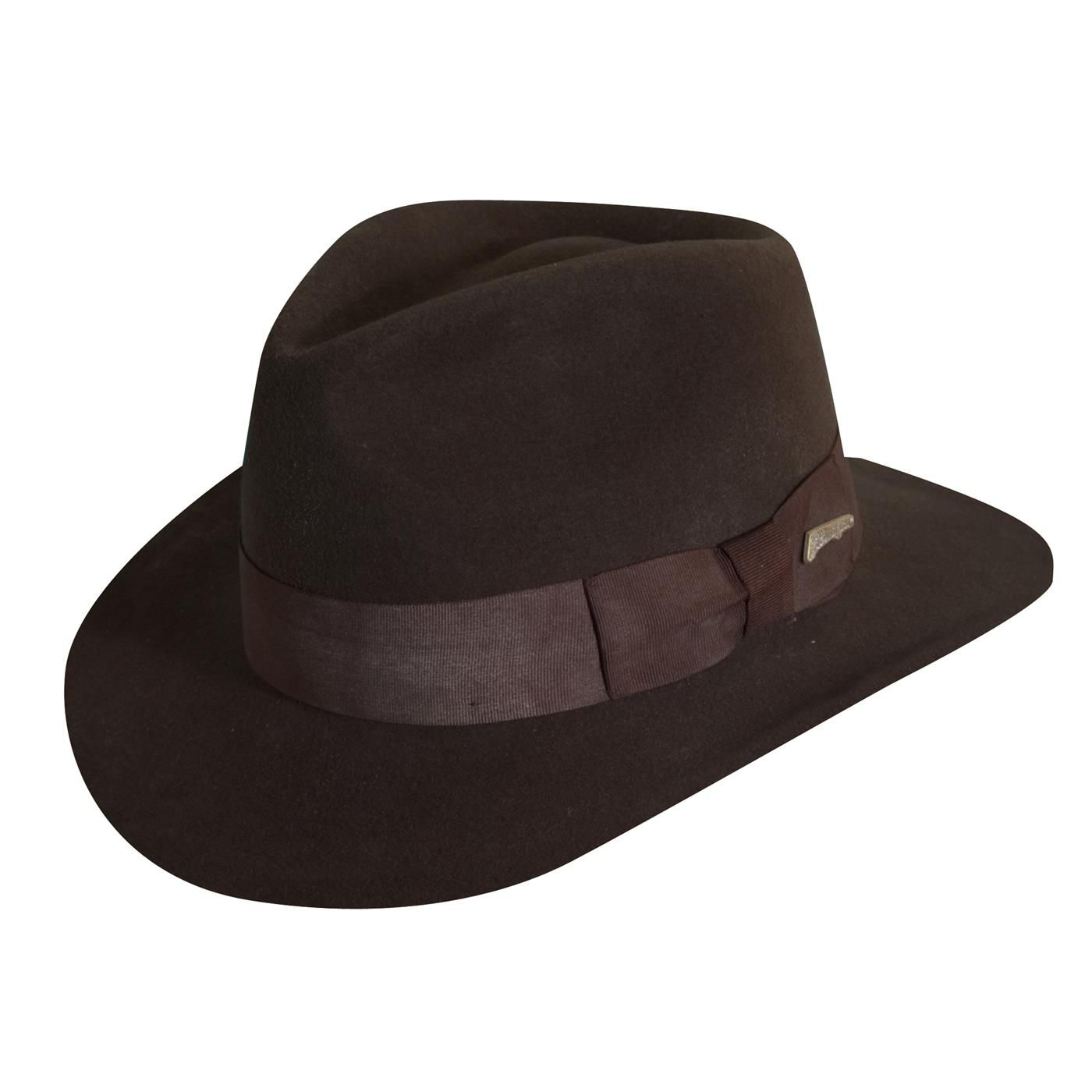 6c20aa8cc98f8 Dorfman Pacific Indiana Jones Men s Wool Felt 3 Inch Brim Fedora Hat ...