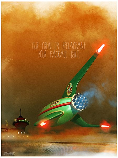 """""""Planet Express Delivery Service"""" - by Bannister -  395 piece limited edition lithograph - http://www.acmearchivesdirect.com/product/FUINT07L/Planet-Express-Delivery...html?cid="""