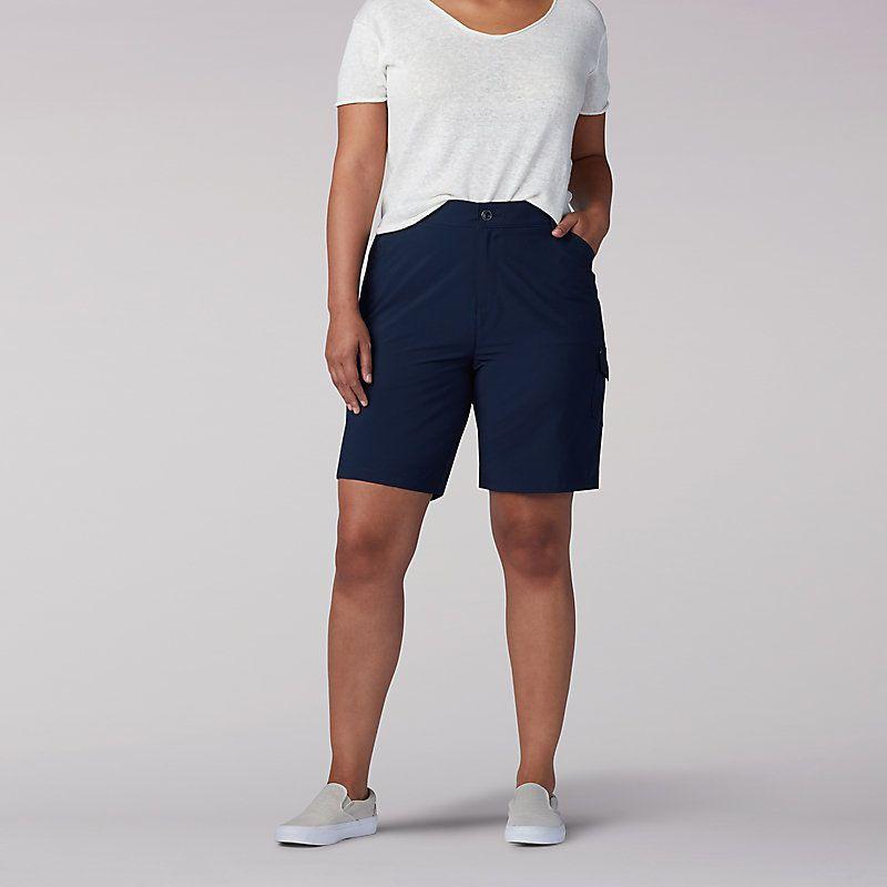 Lee Women S Relaxed Fit Knitwaist Cargo Bermuda Plus Shorts