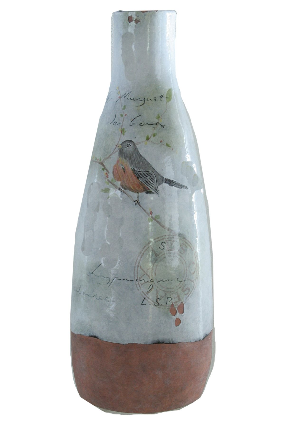 White Washed Terracotta Bird Vase.