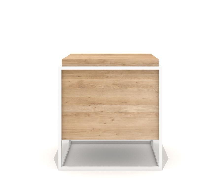 Tavolino di servizio quadrato in acciaio e legno MONOLIT by Universo Positivo design Sascha Sartory