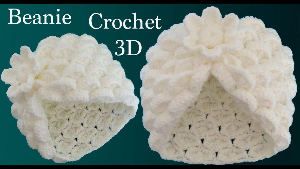 Gorro a Crochet punto marshmallow y flor 3D en punto tunecino tejido tal. 398ab059c1c