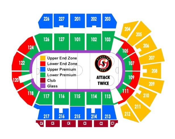 Stockton arena hockey seating chart ahl stockton heat pinterest