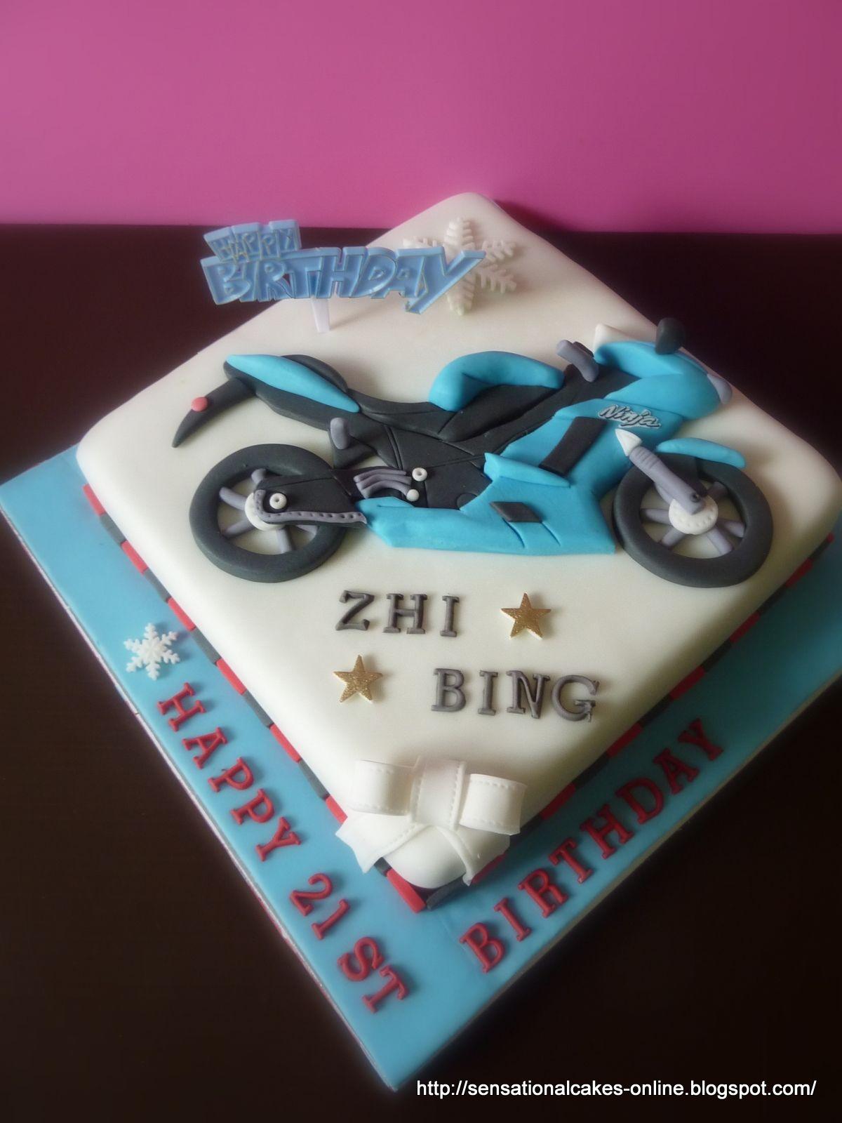 Kawasaki Ninja Motorbike Theme Cake Singapore Happy 21st Birthday