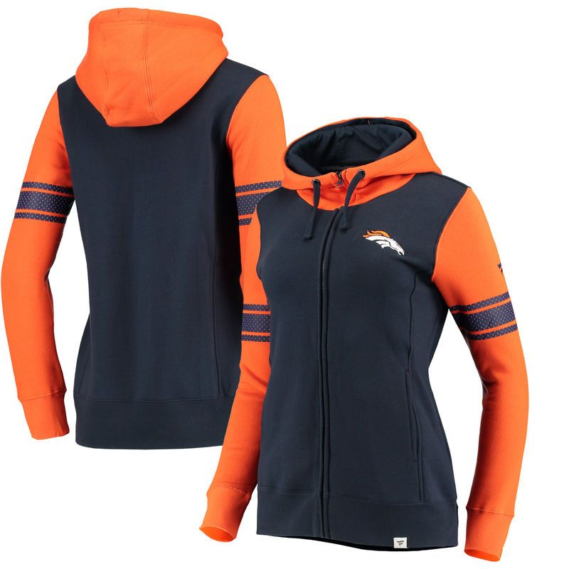 bc4124eab4f Denver Broncos NFL Pro Line by Fanatics Branded Women s Iconic Fleece Full-Zip  Hoodie – Navy Orange