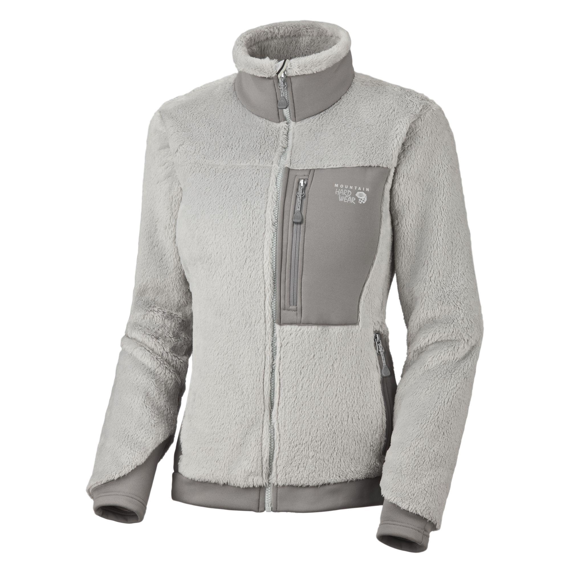 Cool grey/Stainless Mountain Hardwear women's Monkey mountain climbing  jacket.