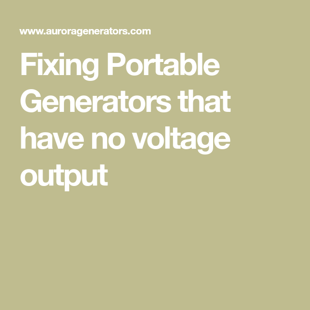 Fixing Portable Generator That Have No Voltage Output | Fix