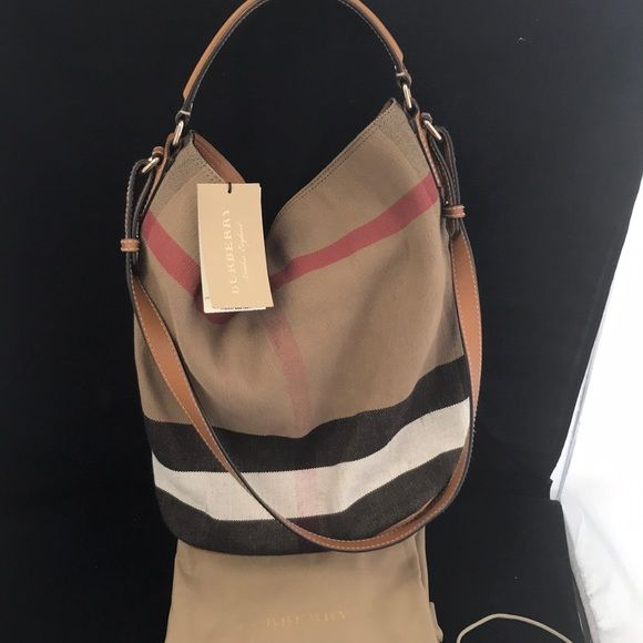 cdb082260a1 Burberry Ashby Med. Canvas Check Tote Saddle Brown Burberry The Ashby  Medium Canvas Check Tote