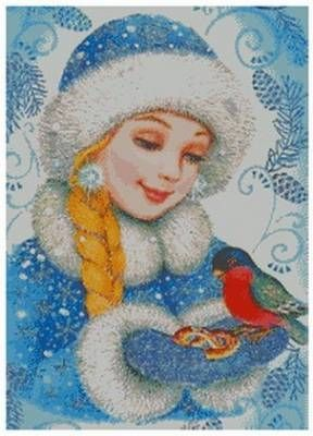 Снегурочка с птичкой | Рождественские картины, Иллюстрации ...
