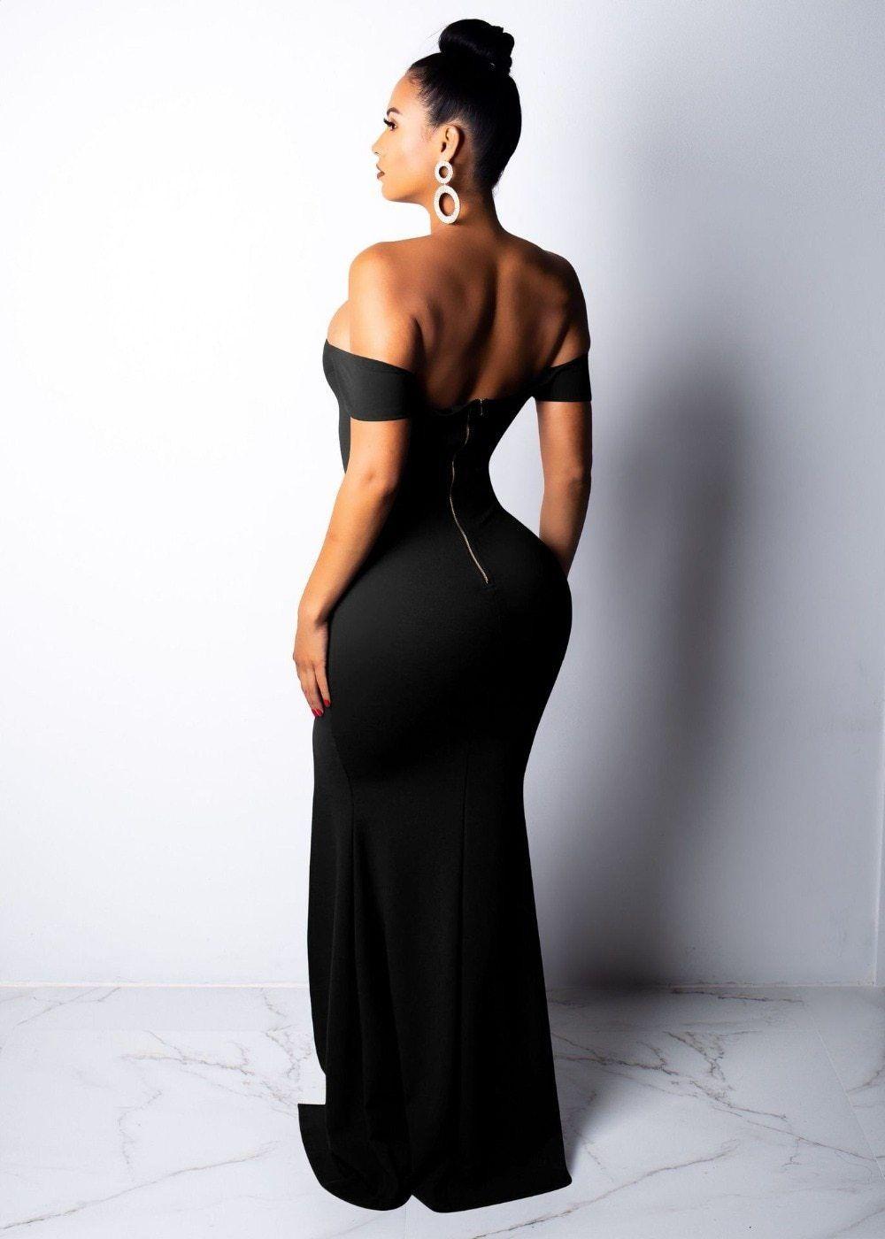 4595c06253b Elegant Off Shoulder Thigh Split Maxi Dress Trendy Dresses