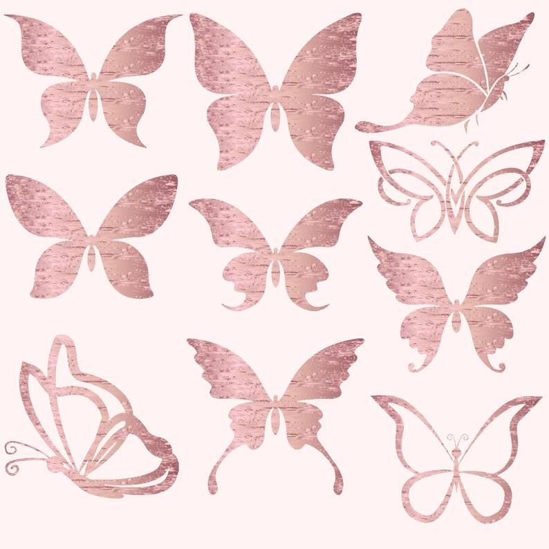 Butterflies Clipart Gold Foil Butterfly Butterflies Clip Etsy Borboleta Rosa Borboletas De Papel Imagem De Fundo Para Iphone