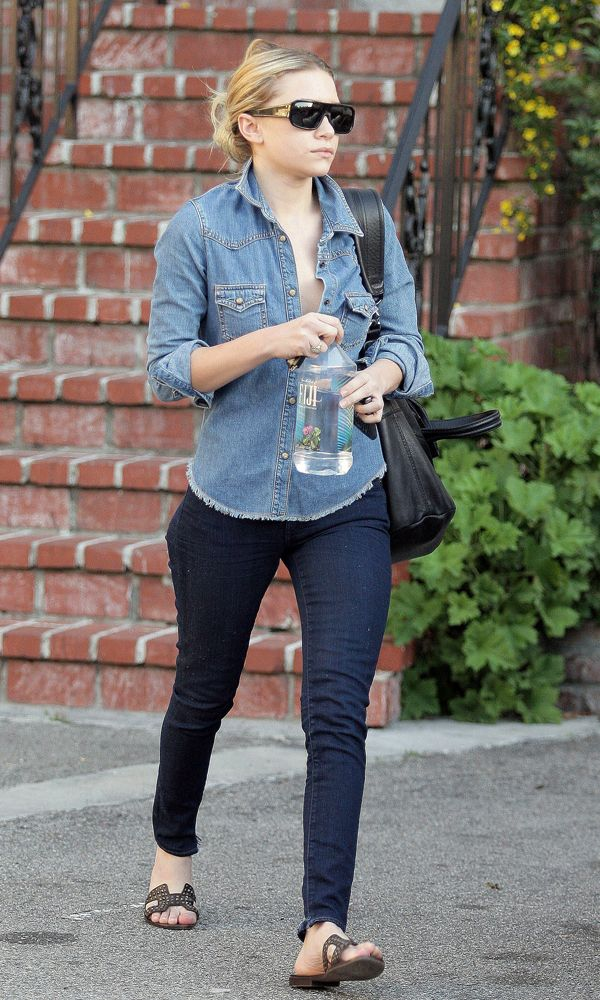 967d6adf4b Ashley leaving a salon in Beverly Hills wearing a denim-on-denim look with  a Givenchy Nightingale bag and studded Hermès sandals