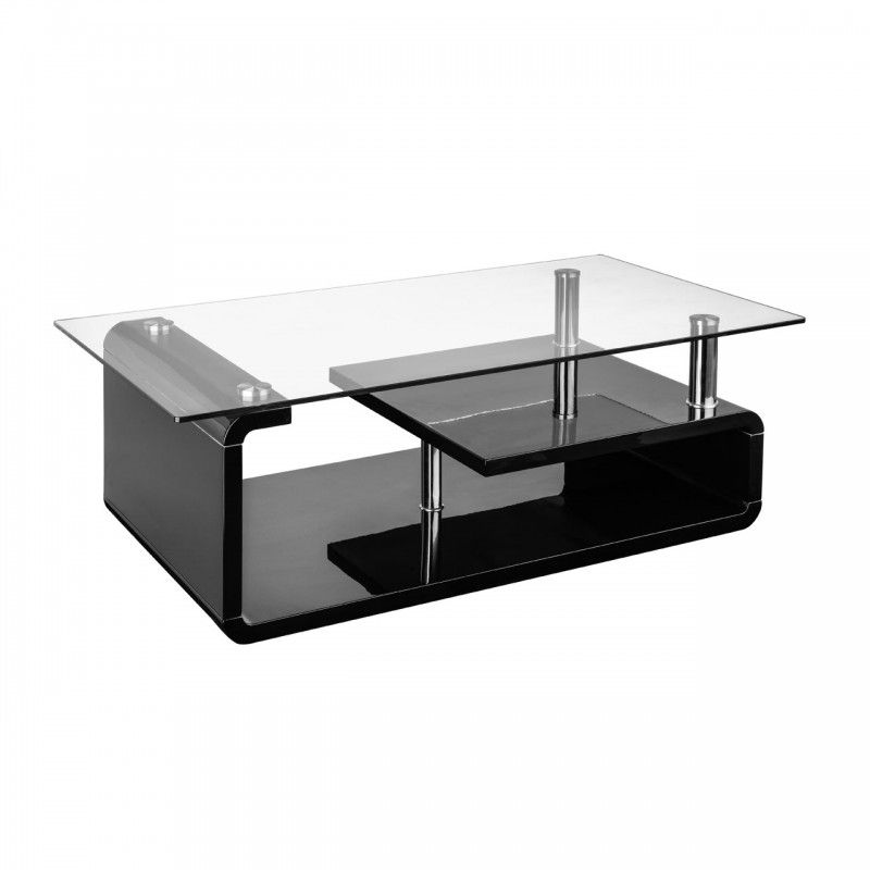 Couchtisch Glas Ablage Coffee Table Clear Tempered Glass & Black High Gloss