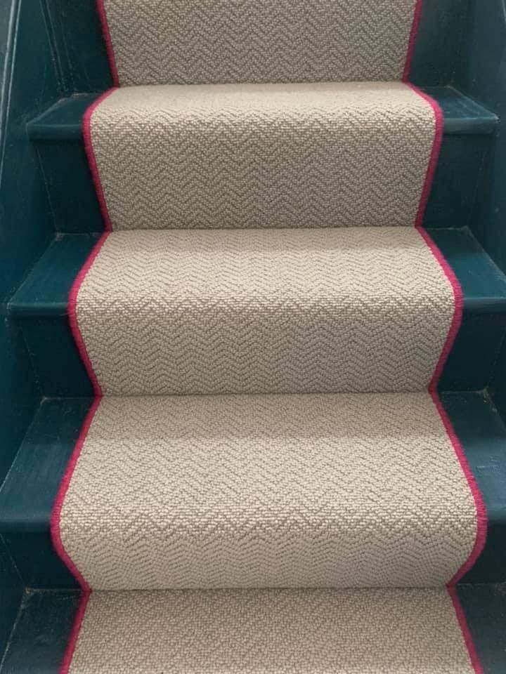 Best Storm Grey Wool Herringbone Stair Runner With Pink Edge 400 x 300