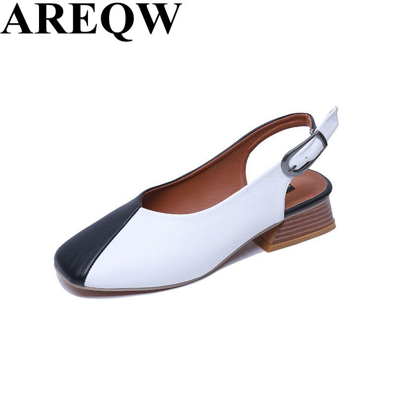 6e4ae60ddb73a5 2017 new spring and summer fashion temperament ladies sandals square flat  back lazy shoes back empty