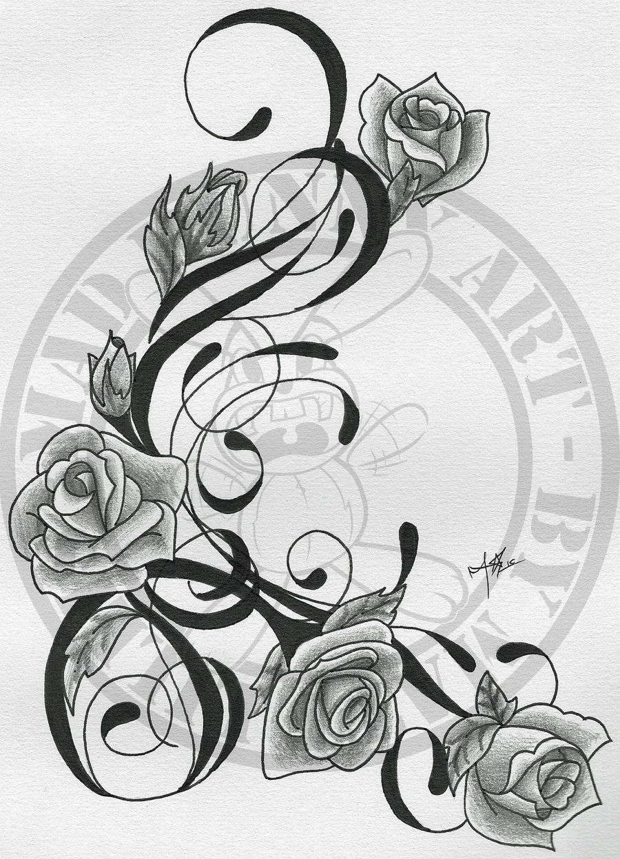 Rose And Vines Tattoos | Trible Vine and roses by *madbunnyart on deviantART