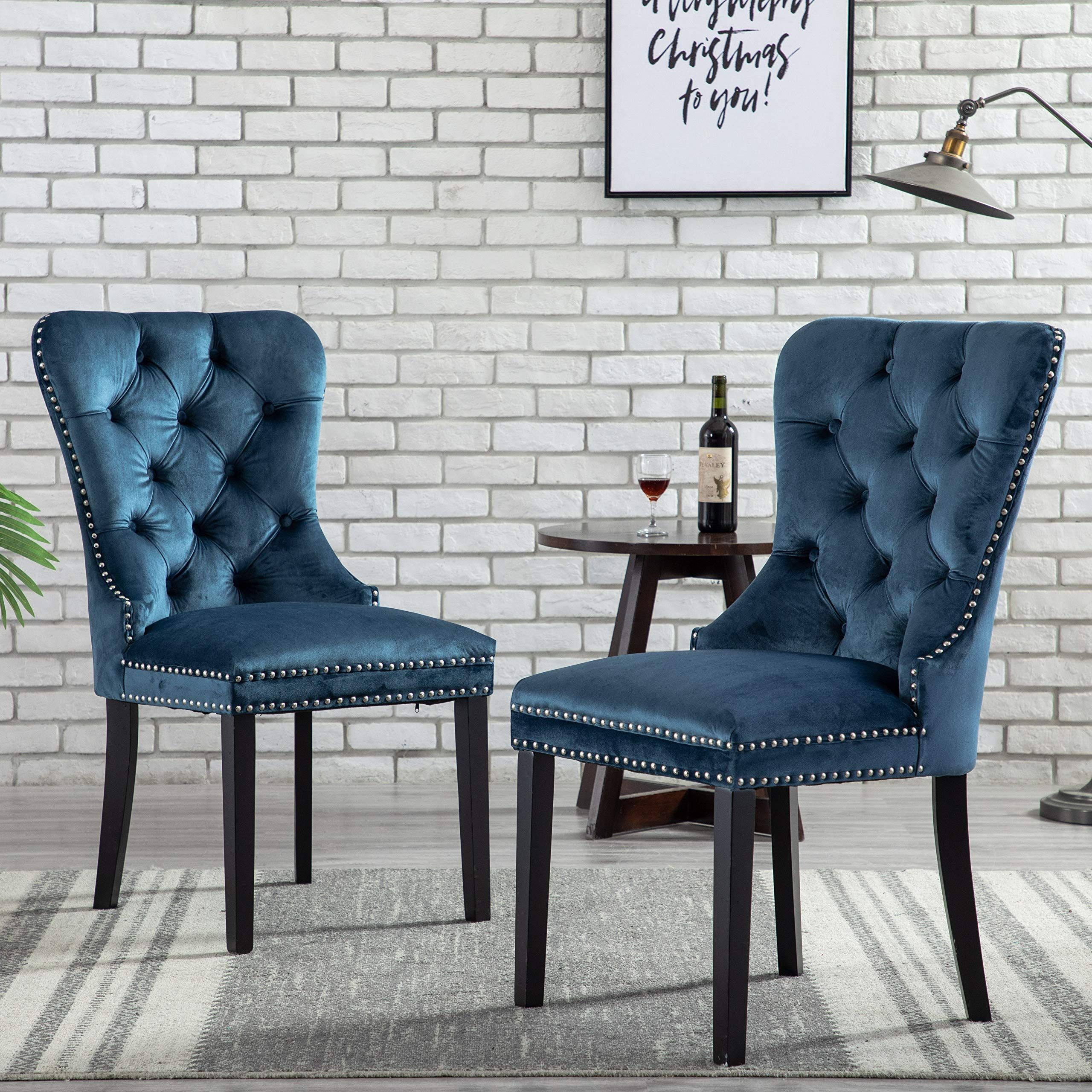 Upholstered Tufted Dining Chairs With Luxurious Button And