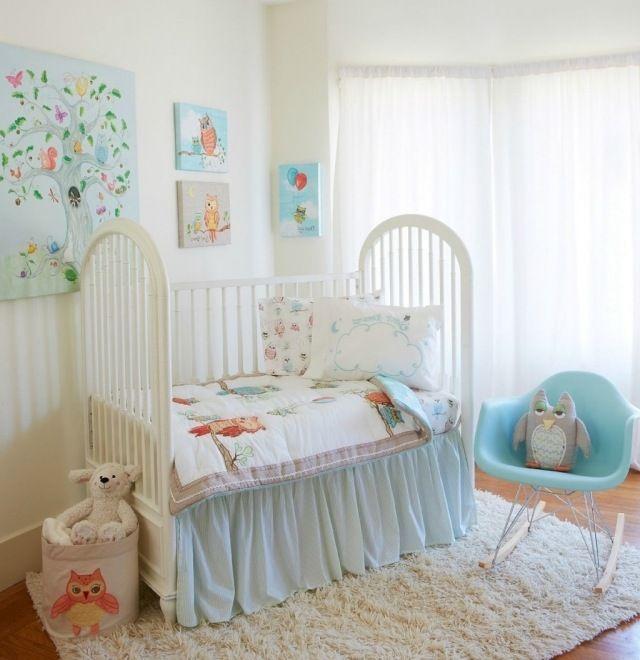 babyzimmer neutrale farben weiß pastellblau motto eulen waldtiere, Schlafzimmer