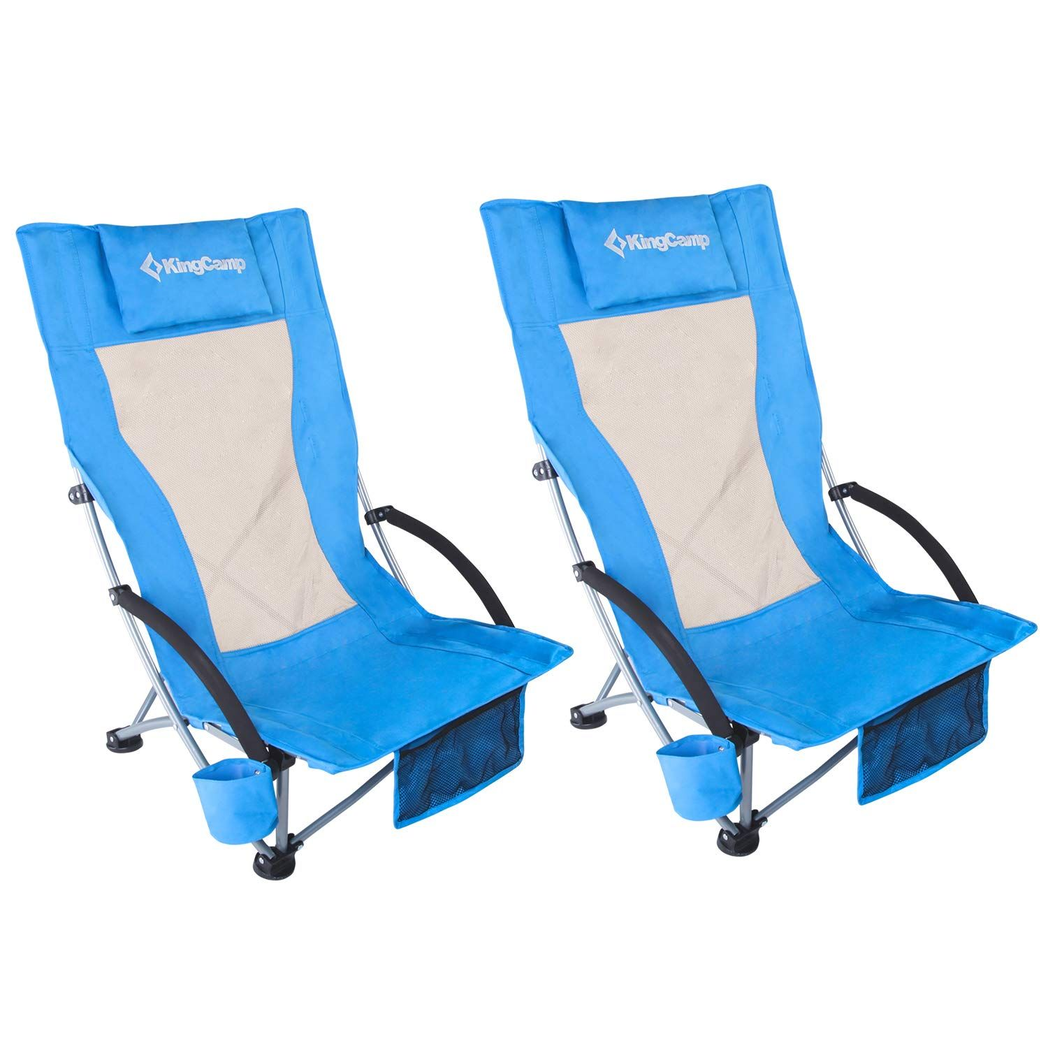 KingCamp Low Sling Beach Camping Concert Folding Chair Low and High Mesh Back Two Versions