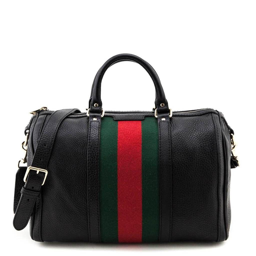 Gucci Black Pebbled Leather Web Boston Bag Bags Gucci Handbags Pebbled Leather