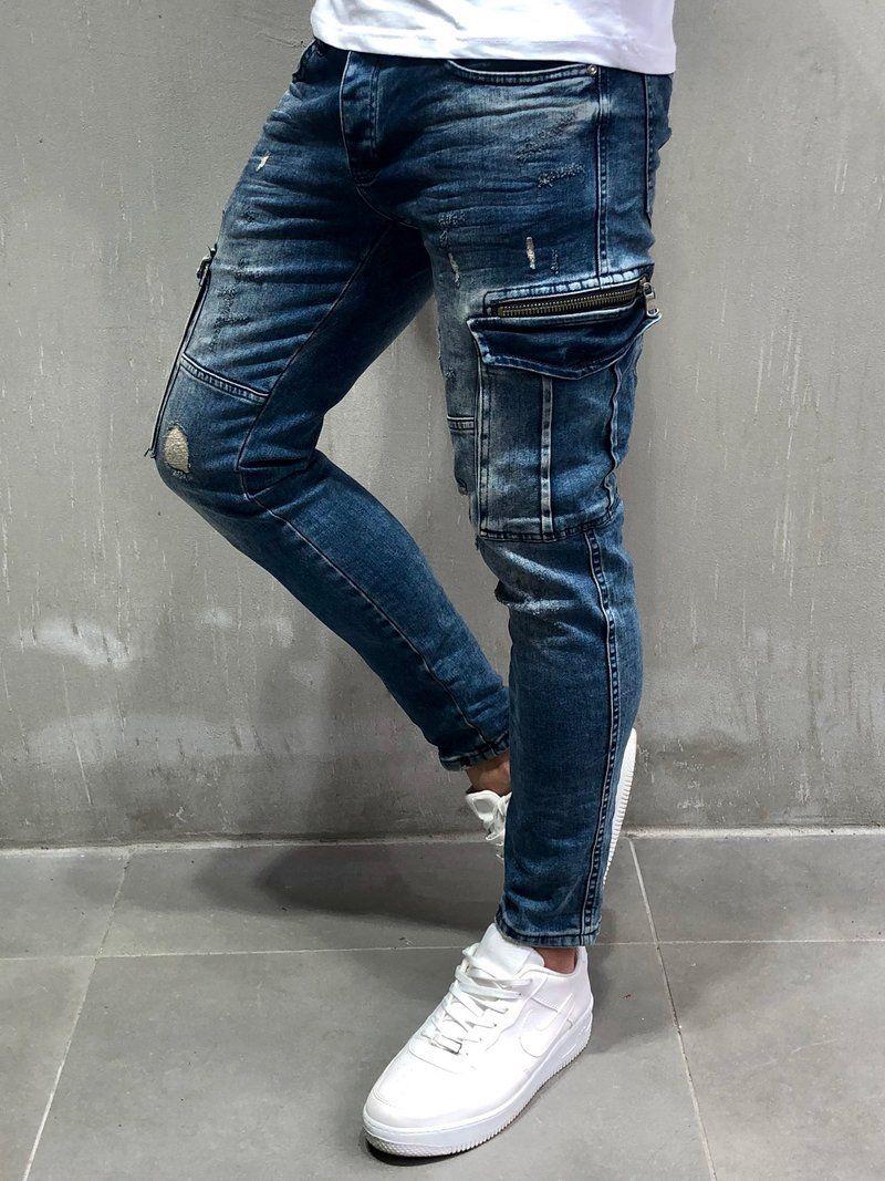 057553788f Men Skinny Fit GU Ripped Cargo Jeans - Blue 4061   Farmer ekkor ...
