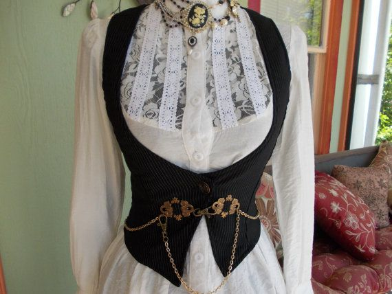 The Chain and Pinstripe Vest: Upcycled Steampunk Stretchy Underbust Vest with Brass Chain Detail  in Women's SIZE S/M