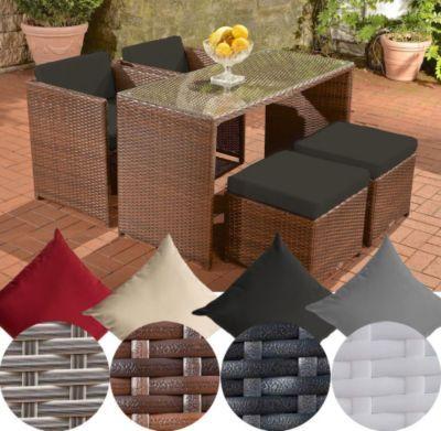 Poly-Rattan Balkon Sitzgruppe TAHITI (2 Stühle + 2 Hocker + Tisch ca