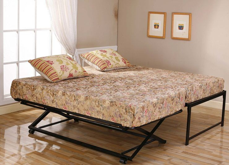 Metal Daybeds Frame With Pop Up Trundle And 2 Pillows Pop Up Trundle Bed Trundle Bed Plans Pop Up Trundle