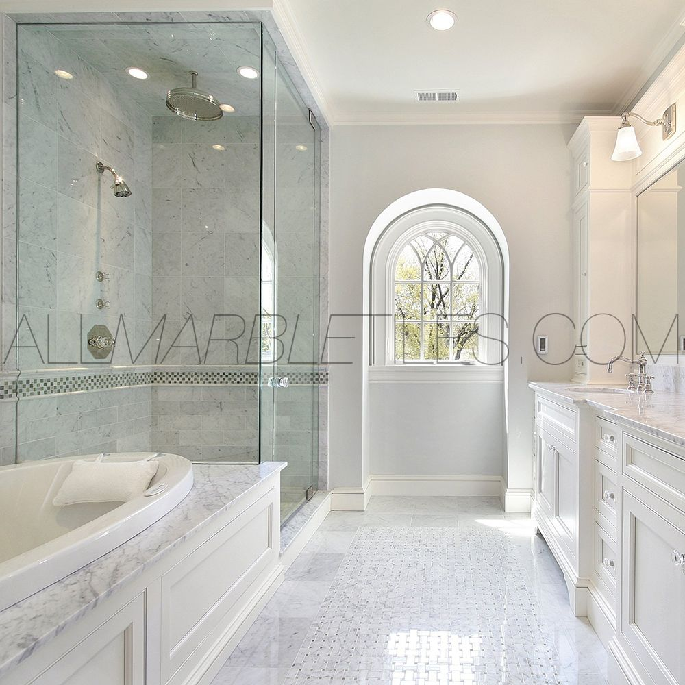 Carrara marble bathroom pictures it from all other for Bathroom ideas marble tile