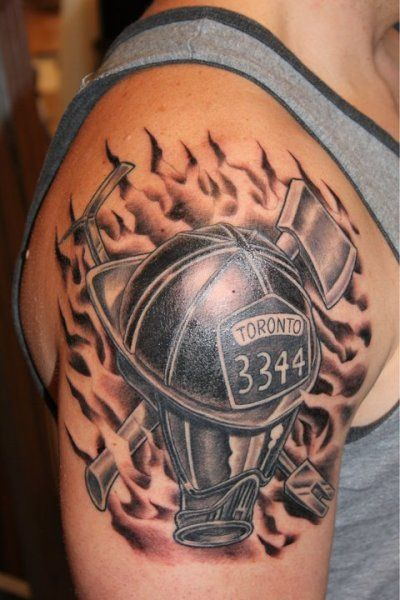 af0df50f9 firefighter tattoo - helmet and mask criss-crossed with axe and halligan  tool