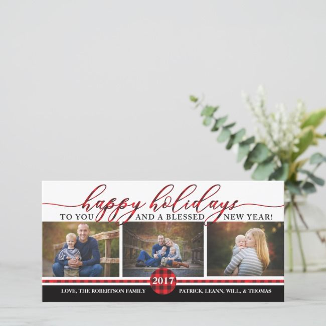 Christmas Photo Card Buffalo Plaid Holiday Card