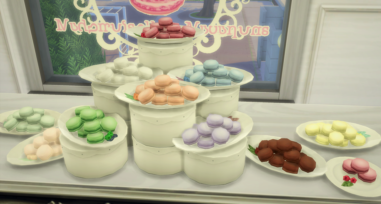 Little Macaron Set. Incl: Window Sticker, Bag (Mesh by Allisas!), Macaron Menu & Hanging GTW Sign. Decorative & buyable Macaron Plate in 10 flavours + 1 single serving/1 rc. DL Macarons DL Shop...