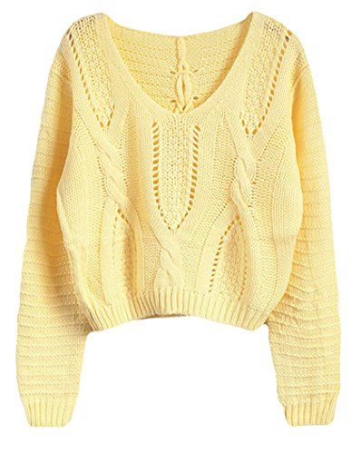 53b9a0c6fd PrettyGuide Women Eyelet Cable Knit Lace Up Crop Sweater ...