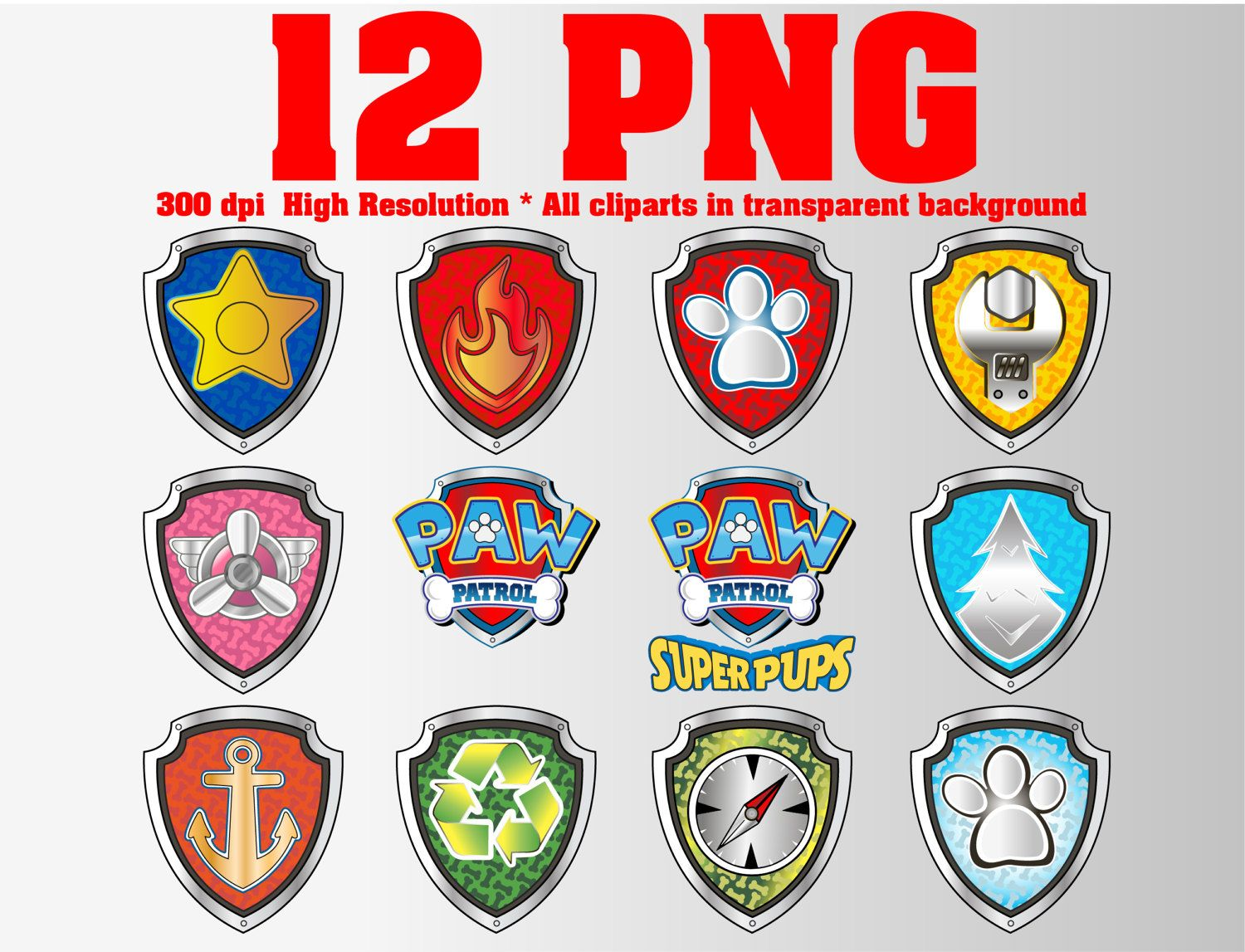 Paw All Patrol Badges Clipart 12 Png 300dpi