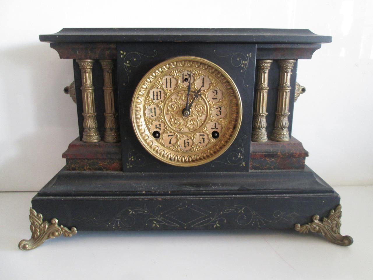 Antique Sessions Clock Co Fs Black Mantle Clock W Marbleized