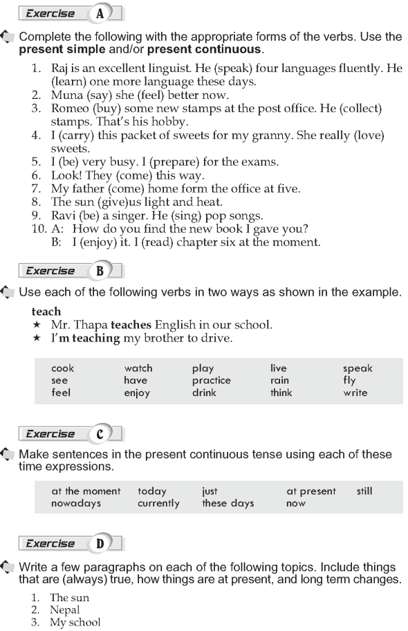 Grade 10 Grammar Lesson 1 Present Simple And Present Continuous 1 Grammar Lessons Grammar Grammar Book