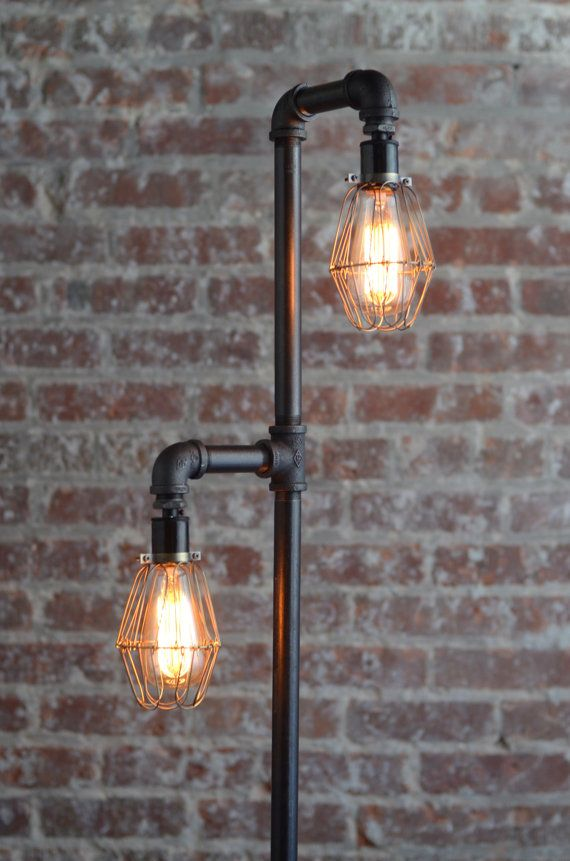 Pipe Floor Lamp   Industrial Floor Lamp   Edison Bulb   Standing Lamp   Bulb  Cage   Modern Lamps