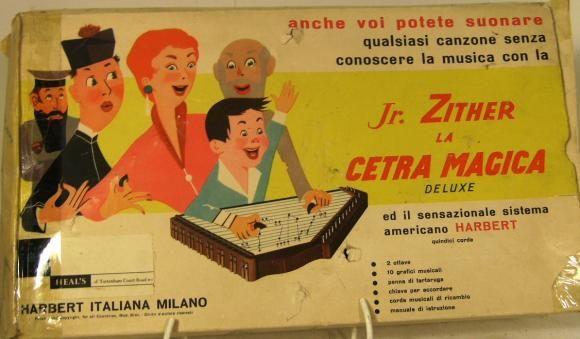 1960's italian bakelite toy zither boxed.