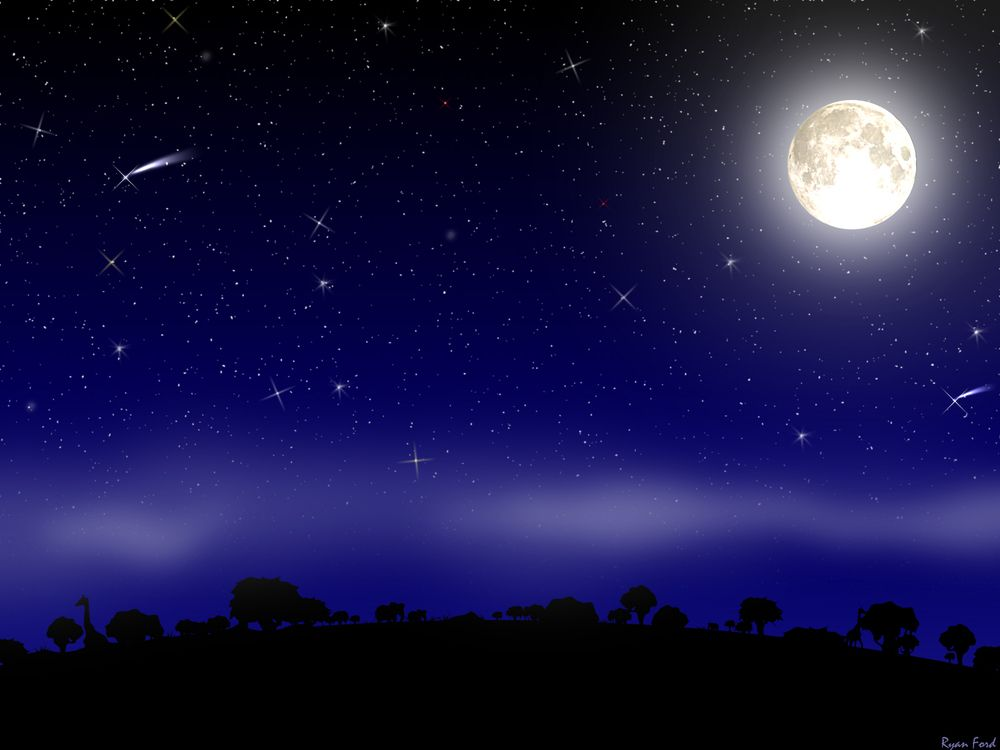 Midnight Blue Sky With Moon Night Sky With Moon And Stars Night Scenery Anime Scenery Wallpaper Anime Scenery