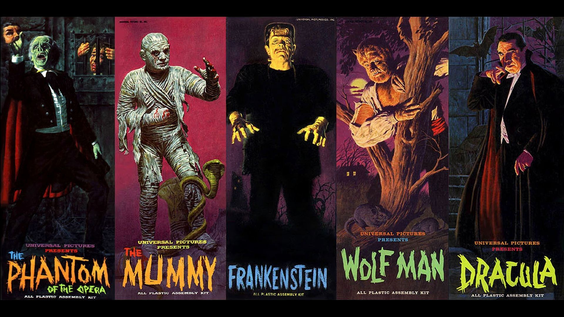 1920x1080 Aurora Monster Model Box Covers From The 1960 S Wallpaper By Bill Morris See More Classic Monsters Universal Monsters Art Movie Monsters