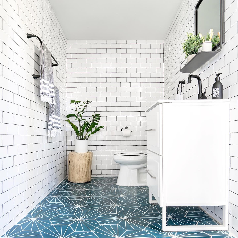 Nola Blue Geometric Tile Cement Tile Riad Tile Blue Bathroom Tile Blue Tile Floor Geometric Tiles Bathroom