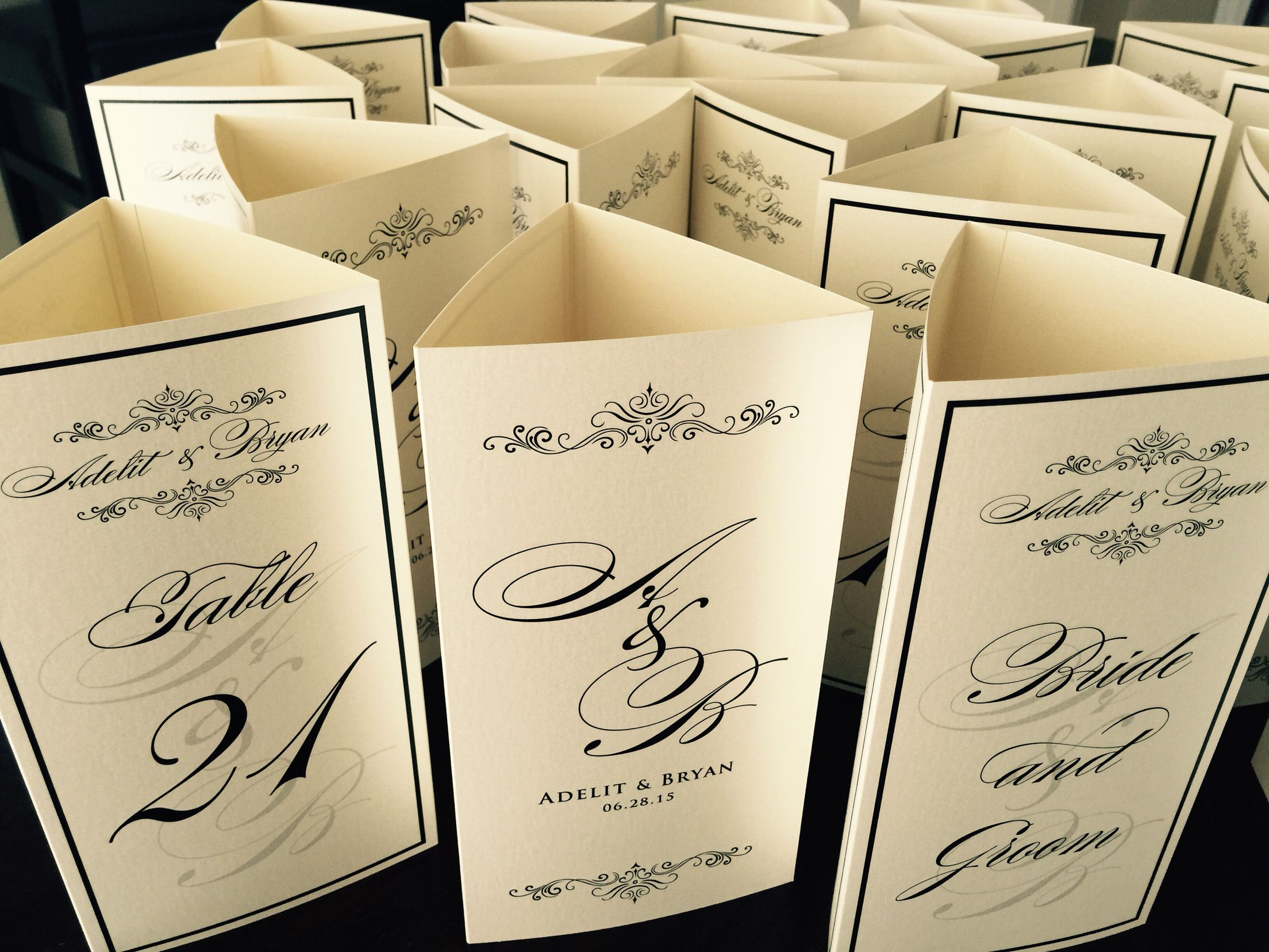 our signature trifold menu cards with a vintage monogram