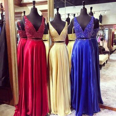 Luxus Chiffon Pailletten V-Ausschnitt zwei Stück Abendkleid Abendkleid PM810   – Two pieces prom dresses
