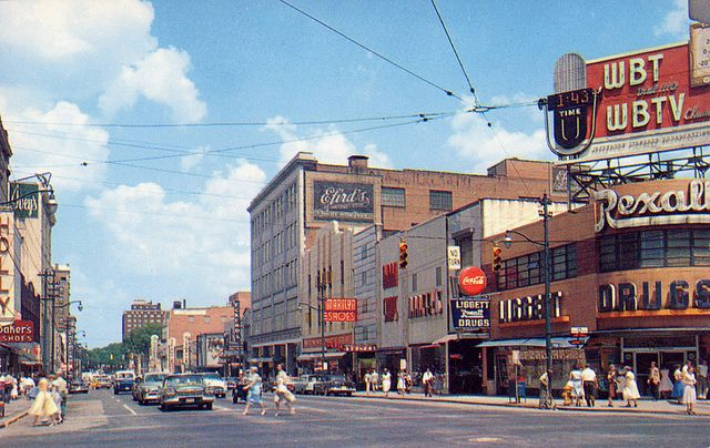 north tryon street and trade street charlotte north carolina 1950's