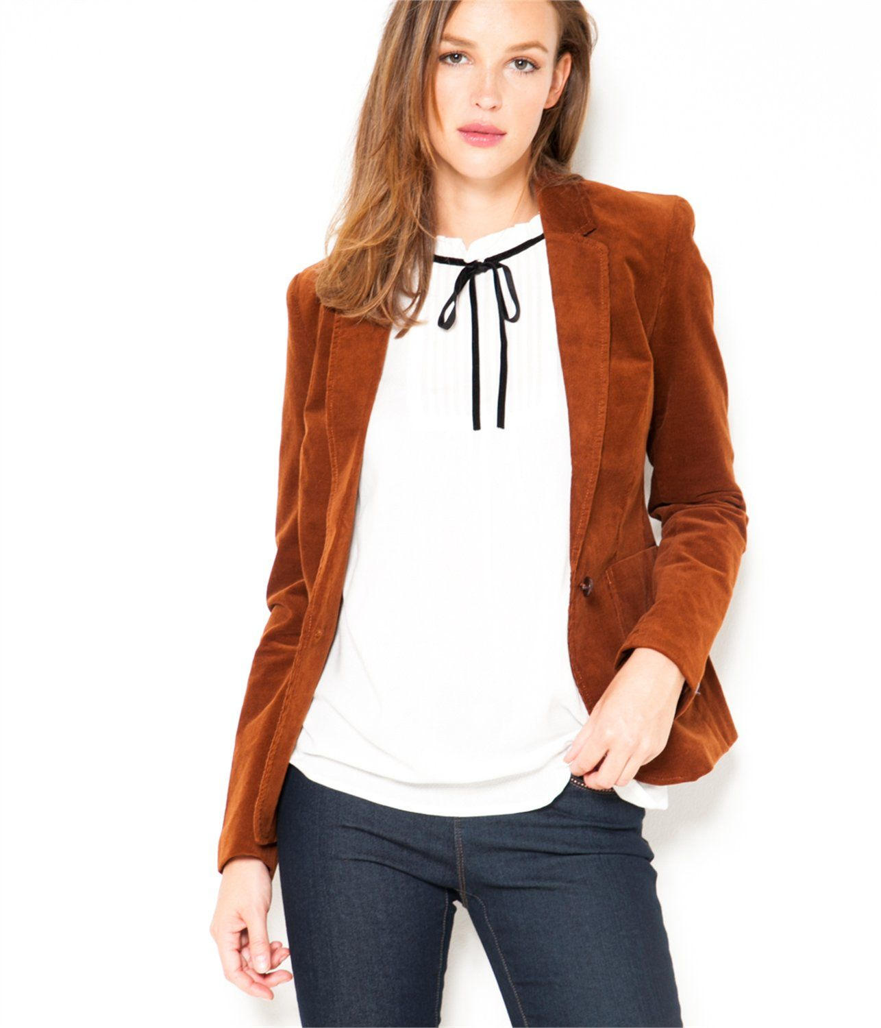 Veste en velour côtelé leather brown - Velvet jacket Camaïeu 2016 ... 42aa5a6c0ba2